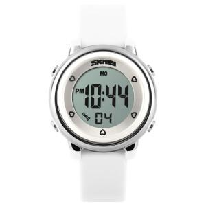 Женские электронные часы «Skmei» с белым силиконовым ремешком купить. Цена 450 грн