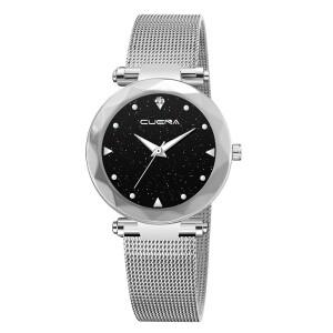 Великолепные часы «Cuena» с серебристым ремешком-кольчугой купить. Цена 299 грн