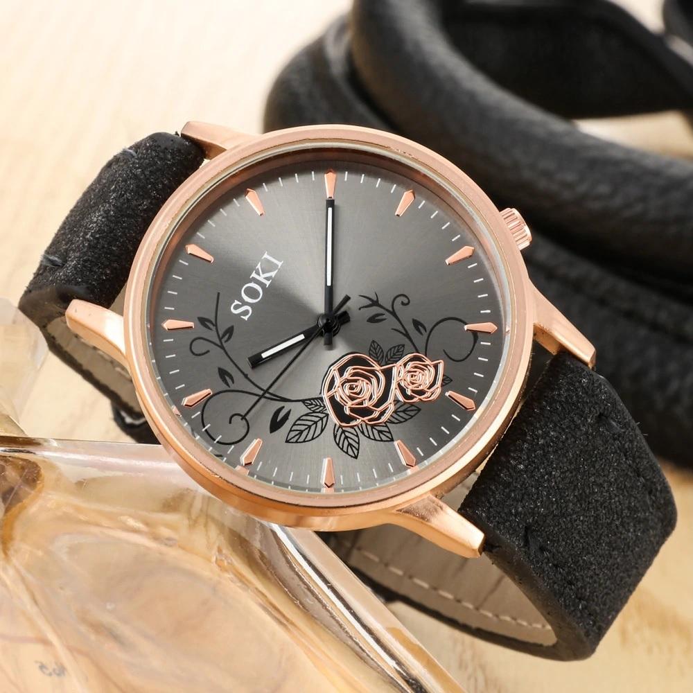 Интересные женские часы «SOKI» с цветами на сером циферблате купить. Цена 285 грн