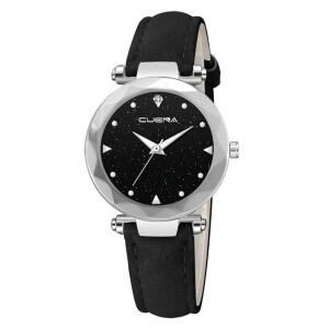 Прекрасные часы «Cuena» с серебристым корпусом и чёрным ремешком купить. Цена 245 грн