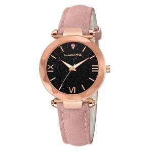 Аккуратные женские часы «Cuena» с золотым корпусом и розовым ремешком купить. Цена 245 грн