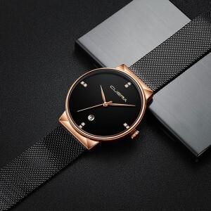 Крупные женские часы «Cuena» с золотым корпусом и чёрным ремешком-кольчугой купить. Цена 375 грн