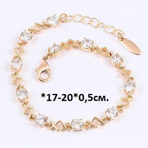Традиционный браслет «Марантино» с цирконами и позолотой от Xuping купить. Цена 285 грн