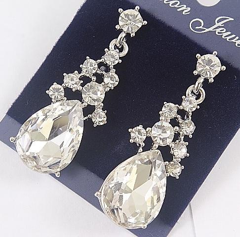 Нарядные серьги «Нигелла Белая» с крупным кристаллом в серебристом металле купить. Цена 145 грн
