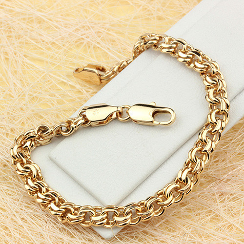 Короткий браслет-цепочка с крупным плетением Бисмарк и золотым покрытием купить. Цена 399 грн
