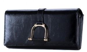 Копия женского кошелька «Gucci» чёрного цвета с металлической пряжкой фото. Купить