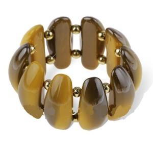 Толстый браслет из акриловых звеньев горчичного цвета, соединённых резинкой купить. Цена 165 грн