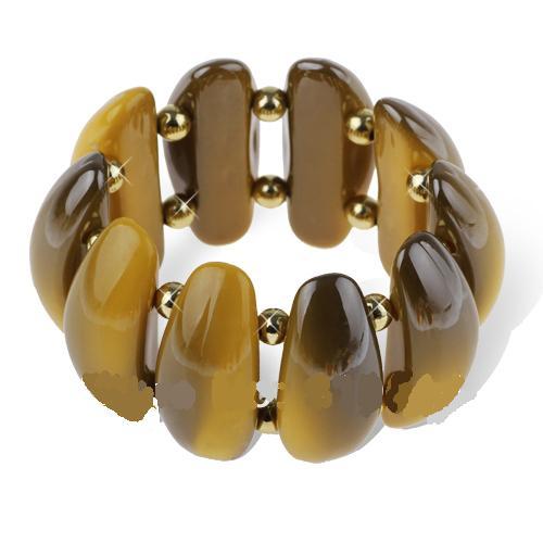 Толстый браслет из акриловых звеньев горчичного цвета, соединённых резинкой купить. Цена 175 грн