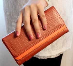Молодёжный кошелёк «Weichen» рыжего цвета с раскладкой-трансформер фото. Купить