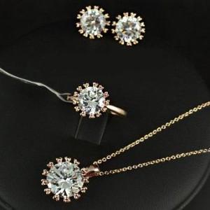 Ювелирный комплект «Бриллиант» (бренд-ITALINA) с подвеской, кольцом и серёжками с позолотой и цирконами фото. Купить