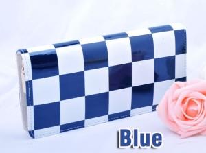 Большой лаковый кошелёк на молнии в сине-белую клетку купить. Цена 180 грн