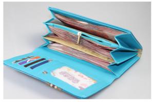 Подростковый лаковый кошелёк Dalins голубого цвета с нашивкой из ткани фото 1