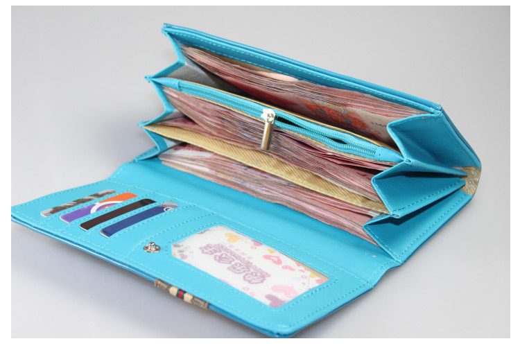 e737ec31a238 Подростковый лаковый кошелёк Dalins голубого цвета с нашивкой из ткани