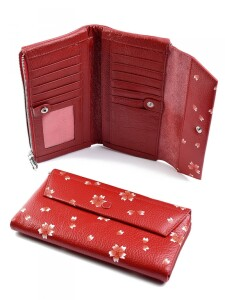 Яркий кожаный кошелёк «Cossni» с цветочным рисунком купить. Цена 990 грн