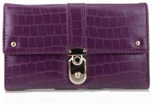 Небольшой фиолетовый кошелёк из заменителя кожи с застёжкой-клипсой фото. Купить
