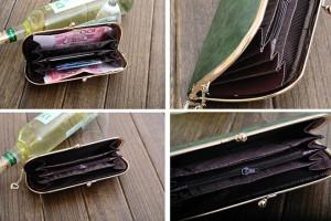 Тонкий кошелёк серого цвета в ретро-стиле с застёжкой-»поцелуйкой» фото 1