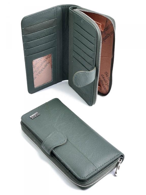 Зелёный кожаный кошелёк «Imperial Horse» на змейке с дополнительным отделением купить. Цена 599 грн