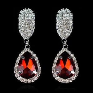 Висячие серьги «Клио» с камнями красного цвета и бесцветными стразами купить. Цена 145 грн или 455 руб.