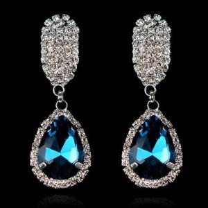 Лёгкие вечерние серьги «Донателло» с синими камнями, стразами с покрытием под белое золото купить. Цена 145 грн