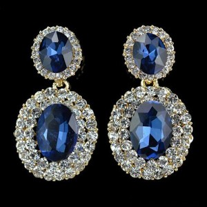 Овальные серьги «Сапфирит» с синими камнями, стразами и покрытием под золото купить. Цена 145 грн или 455 руб.