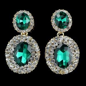 Красивые серьги «Вельможа» со стразами и зелёными камнями в металле под золото купить. Цена 145 грн или 455 руб.