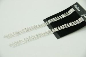 Узкие длинные серьги «Вальс» с висюльками из бесцветных страз в белом металле купить. Цена 140 грн или 440 руб.