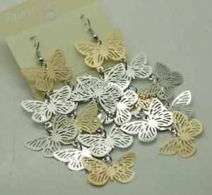 Воздушные серьги «Тизании» с металлическими бабочками без камней и вставок фото. Купить