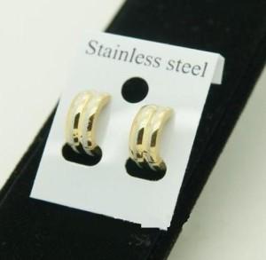 Стальные серьги «Luxury» из медицинского сплава в виде маленьких широких колец фото. Купить