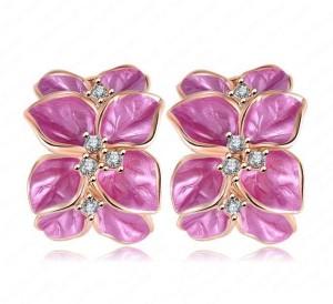 Розовые серьги «Камелия» (бренд-ITALINA) с золотым напылением и кристаллами Swarovski фото. Купить