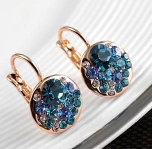 Цветные серьги «Бузина» (бренд-ITALINA) с камнями Сваровски и 18-ти каратным золотым покрытием фото. Купить