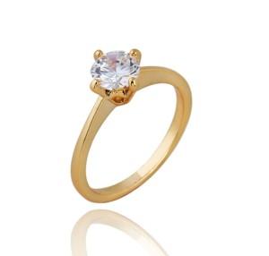 Недорогое кольцо с напылением из жёлтого золота и прозрачным цирконом с огранкой купить. Цена 89 грн