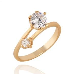 Скромное женское кольцо с двумя цирконами и золотым напылением фото. Купить