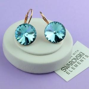 Красивые серьги «Голубая лагуна» с крупным голубым камнем Сваровски и золотым покрытием фото. Купить