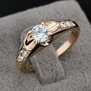 Прелестное кольцо «Гименей» (бренд-ITALINA) с камнями Сваровски и 18-ти каратным золотым покрытием фото. Купить