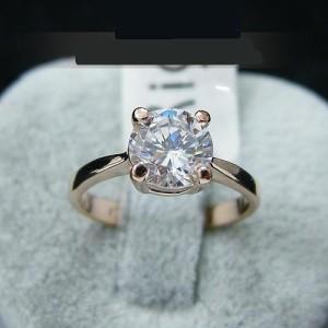 Простое кольцо «Антарктида» (бренд-ITALINA) с круглым камнем Сваровски и золотым покрытием купить. Цена 165 грн