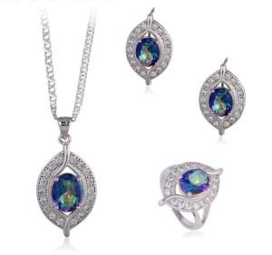 Волшебный комплект «Роксолана» с бесцветными и синими цирконами и покрытием из платины купить. Цена 699 грн или 2185 руб.