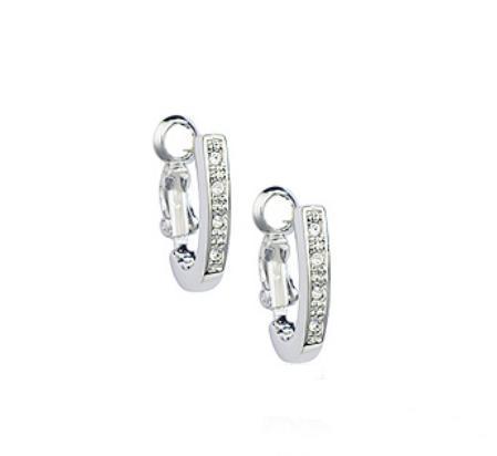 Утончённые серьги «Подкова» (бренд-ITALINA) с покрытием из белого золота с камнями Сваровски фото. Купить