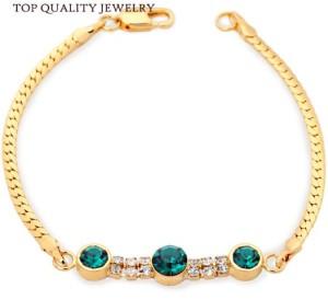 Изумительный браслет «Изумрудный» (бренд-ITALINA) в виде цепочки с тремя зелёными камнями Сваровски купить. Цена 275 грн