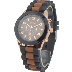 Чёрные спортивные часы «Geneva» с коричневым циферблатом и силиконовым ремешком фото. Купить