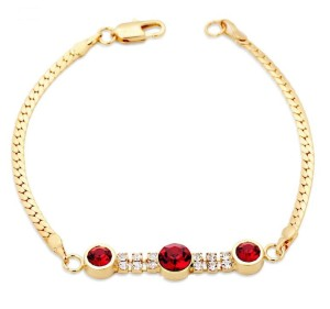 Замечательный браслет «Рубиновый» (бренд-ITALINA) с камнями Сваровски красного цвета и золотым напылением фото. Купить