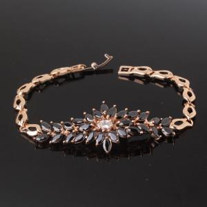 Очень красивый браслет «Феникс» с чёрными камнями-цирконами и золотым покрытием купить. Цена 480 грн или 1500 руб.