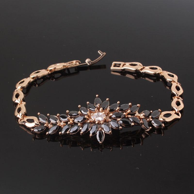 Очень красивый браслет «Феникс» с чёрными камнями-цирконами и золотым покрытием купить. Цена 480 грн