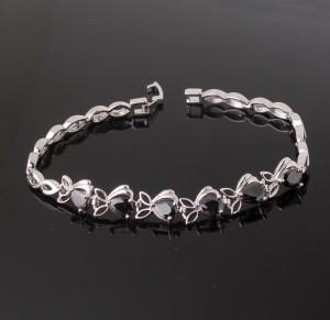 Оригинальный браслет «Морионы» с чёрными цирконами в звеньях и платиновым напылением купить. Цена 380 грн