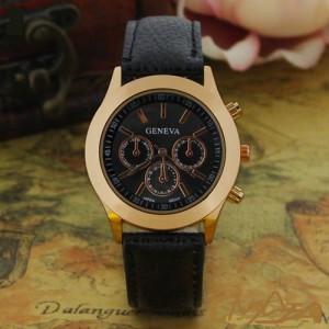 Замечательные женские часы «Geneva» в позолоченном корпусе с чёрным ремешком купить. Цена 185 грн