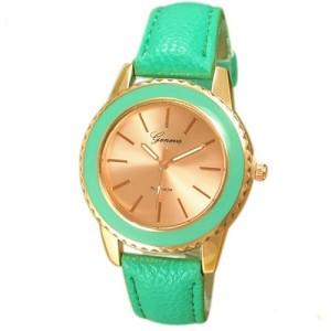 Супермодные наручные часы «Geneva» бирюзового цвета в позолоченном корпусе фото. Купить