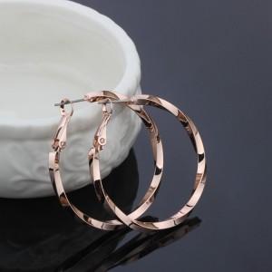 Оригинальные серьги «Кольца Витые» (бренд-Viennois) с покрытием из розового золота, без камней и вставок фото. Купить