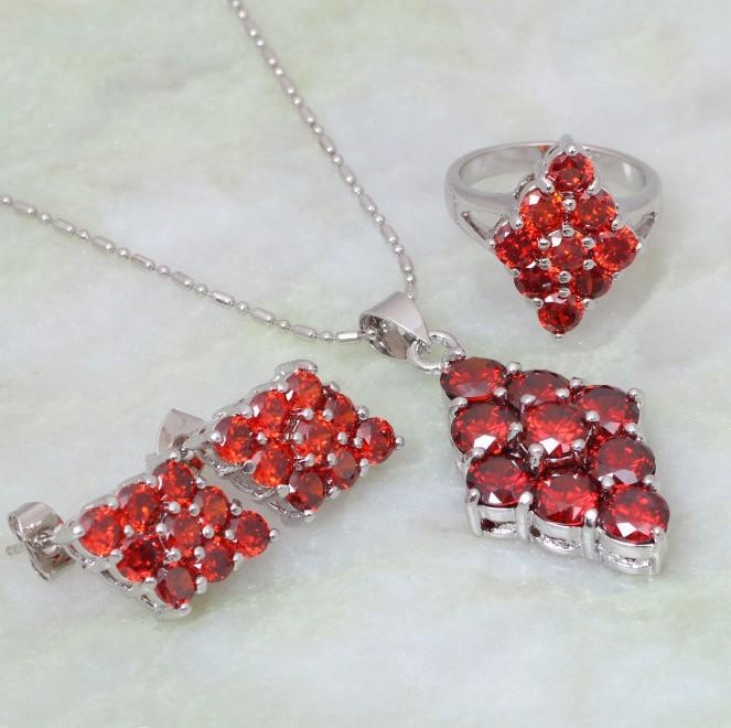 Обворожительный набор «Калина» с платиновым покрытием и красными цирконами купить. Цена 580 грн