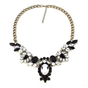 Шикарное ожерелье «Де Альмагро» с чёрными и прозрачными кристаллами на массивной цепочке купить. Цена 220 грн