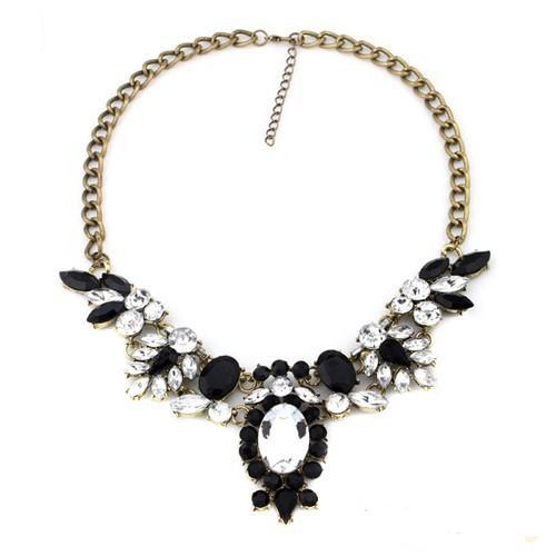Шикарное ожерелье «Де Альмагро» с чёрными и прозрачными кристаллами на массивной цепочке купить. Цена 250 грн