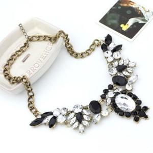 Шикарное ожерелье «Де Альмагро» с чёрными и прозрачными кристаллами на массивной цепочке фото 1